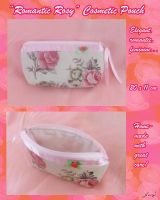 'Romantic Rosy' cosmetic pouch by BlueDove415
