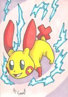 Plusle Sketch Card by ibroussardart