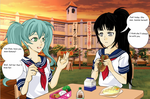 Saki and Yan-Chan have lunch by LE2