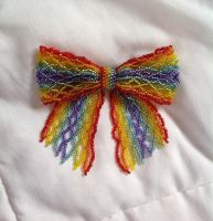 Rainbow Bead Ribbon Pin by pinkythepink