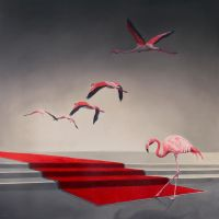 Flamingos and red carpet by deRaat