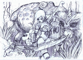 Barbarian Girl Pencils by sykoeent