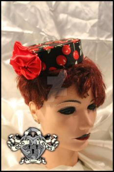 Rockabilly Cherry Pillbox Hat by chaotics