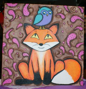 Owl and fox painting by WhimsicallyObsessed