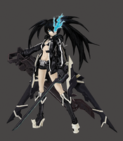 Black Rock Shooter The Game Digital Painting by LuJoLa