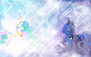 Princess Celestia and Luna Wallpaper by MLArtSpecter