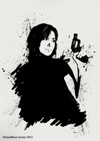 Woman with gun by zxgame
