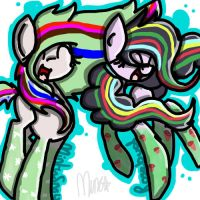 Rainbowfied Rosebud and Minty Snow (CONTEST ENTRY) by Minkxs