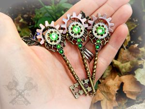 Forest Ruins Key Pendants by ArtByStarlaMoore