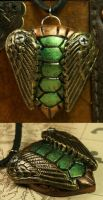 Metallic Winged Shell Pendant by CatharsisJB