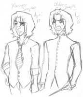 Young and Older Snape by otakugal15