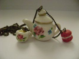 Tea for one on a necklace by monpetitcoin