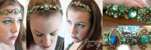 Mystical Elven Green Circlet, Headband + Crown by enchantedsea
