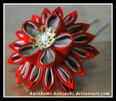 Fiery Fall Flower Pin by Kurokami-Kanzashi