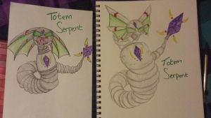 Totem Serpent then and now by CleverDragoness01