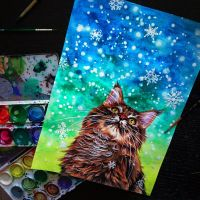 winter cat watercolor by NikaSamarina