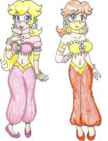 Belly Dancers Peach and Daisy by LilacPhoenix