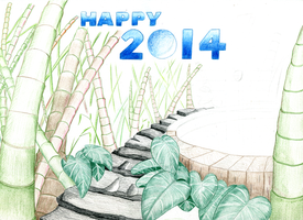 Draft pencil preview 2 - 'Happy New Year - 2014' by Summitwulf