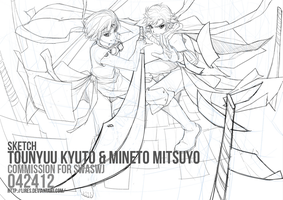 Kyu and Mitsu WIP by lires