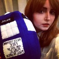 Clara Oswald and plush TARDIS by valeravalerevna