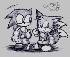 Sonic and Tails Chubby Style by raverkidd