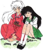 Inuyasha and Kagome colored by Gumbah