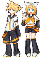 Kagamine Rin and Len by Luycaslima