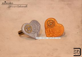 Steampunk Heart Rings by 3timesC