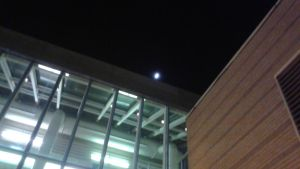The DCPA at Night with cresent moon shining by mylesterlucky7