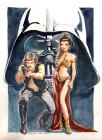 Star Wars - Leia and Han Solo by Ood-Serriere