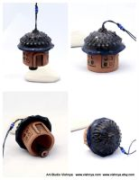 Rustic Blueberry House -- Ceramic Bell by vavaleff