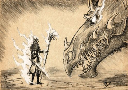 Dragon Age 2 - Anders and Archdemon by DeathLawliet
