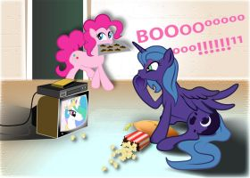 Luna watches MLP at Pinkie's House by ultraspacemobile