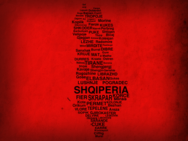 Albanian Map - Typographic by MKadriovski
