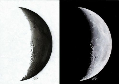 Moon- pencil drawing by Pick45Art