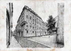 Buiding in Bordeaux - old paper by nicolasjolly