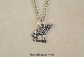 Tiny Howling Wolf Necklace by MonsterBrandCrafts