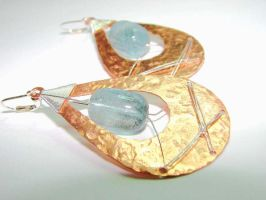 Aquamarine + copper Earrings by CrysallisCreations