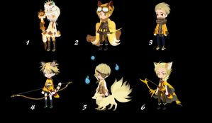 100 themed selfy adopts: day 3 yellow [OPEN] by AlbinoAwesome