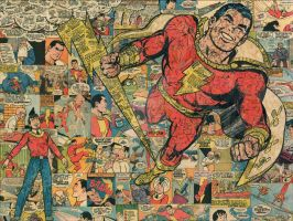 Shazam and Billy Batson Comic Collage by flukiechic