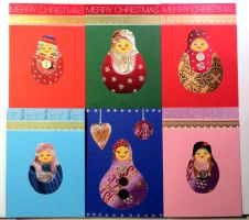 Russian Doll Christmas Cards with Buttons by LoVeras