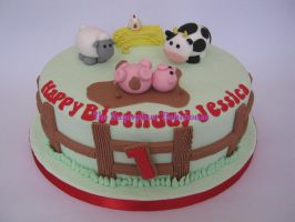 Farm Themed 1st Birthday Cake by SugarplumB