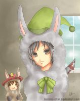 -- Gijinka: Llamas with hat -- by Kurama-chan