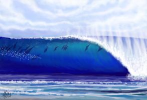 Surfing the big wave by guayasamin