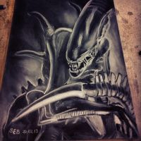 Xenomorph Charcoal/Chalk Drawing by TheSEB93