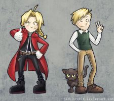 Elric Bros Chibis by rockinrobin