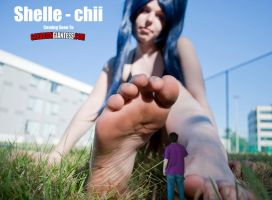 Shrunk At Shelle-Chii's Feet by GiantessFantasy