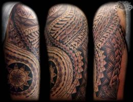 Samoan Sleeve free hand by state-of-art-tattoo