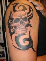 Tribal Skull Tattoo by Pictrixel