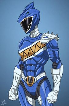 Blue Megalodon Ranger commission by phil-cho